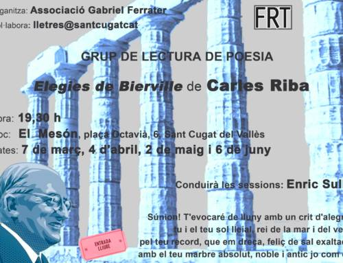 Grup de lectura de poesia – Elegies de Bierville de Carles Riba